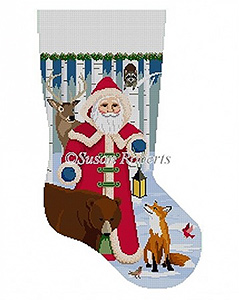 Susan Roberts Needlepoint Designs - Hand-painted Christmas Stocking - Forest Friends