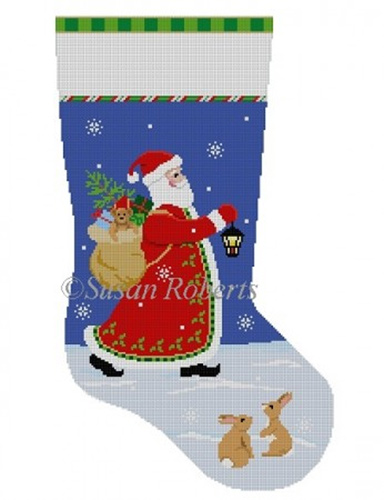 Susan Roberts Needlepoint Designs - Hand-painted Christmas Stocking - Lantern Walk Santa