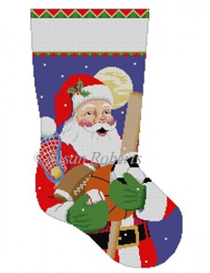 Susan Roberts Needlepoint Designs - Hand-painted Christmas Stocking - Sport Equipment Santa Stocking