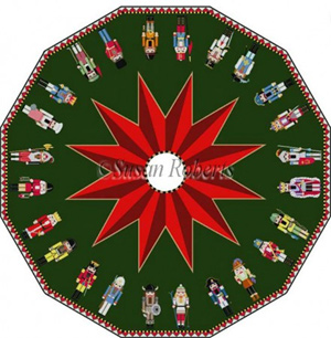 Susan Roberts Needlepoint Designs - Hand-painted Canvas -  Complete Nutcracker Tree Skirt (12 Panels)