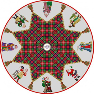 Susan Roberts Needlepoint Designs - Hand-painted Canvas -  Complete Tartan Tree Skirt (8 Panels)
