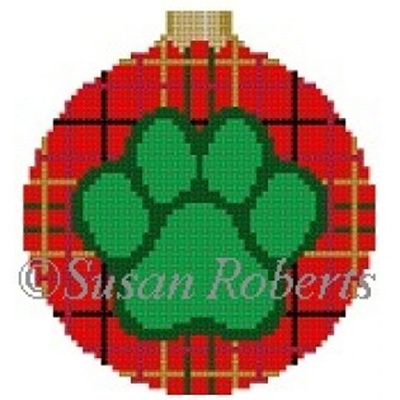 Susan Roberts Needlepoint Designs - Hand-painted Canvas - Dog Paw Plaid