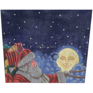Moonlight Santa - Hand-Painted Needlepoint Canvas