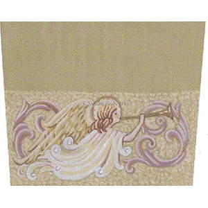 Tapestry Tent, Liz Goodrick-Dillon - Angel & Horn - Hand-Painted Needlepoint Canvas