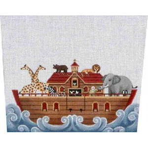 Noah's Ark Stocking Topper - Hand-Painted Needlepoint Canvas