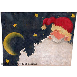 Santa & Gold Moon - Hand-Painted Needlepoint Canvas