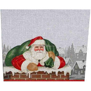 Chimney Santa - Hand-Painted Needlepoint Stocking Topper Canvas