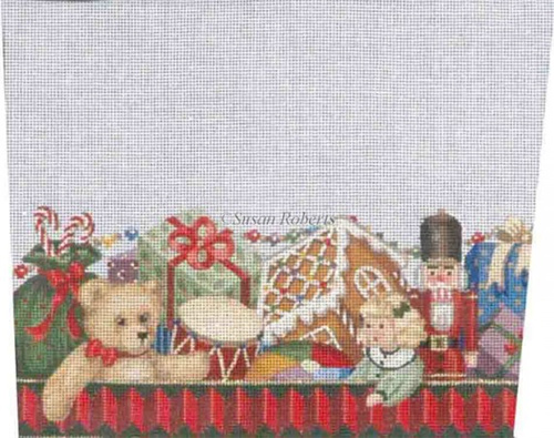 Toy Box - Hand-Painted Needlepoint Stocking Topper Canvas