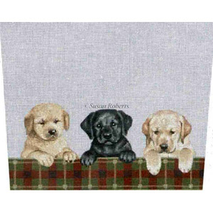 Retriever & Lab Puppies - Hand-Painted Needlepoint Stocking Topper Canvas