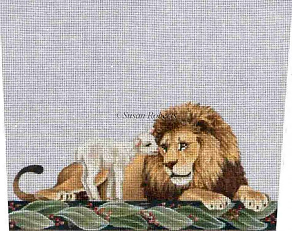 Lion & Lamb - Hand-Painted Needlepoint Stocking Topper Canvas