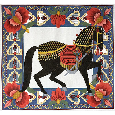 Black Horse 3 - Hand Painted Needlepoint Canvas from Trubey Designs