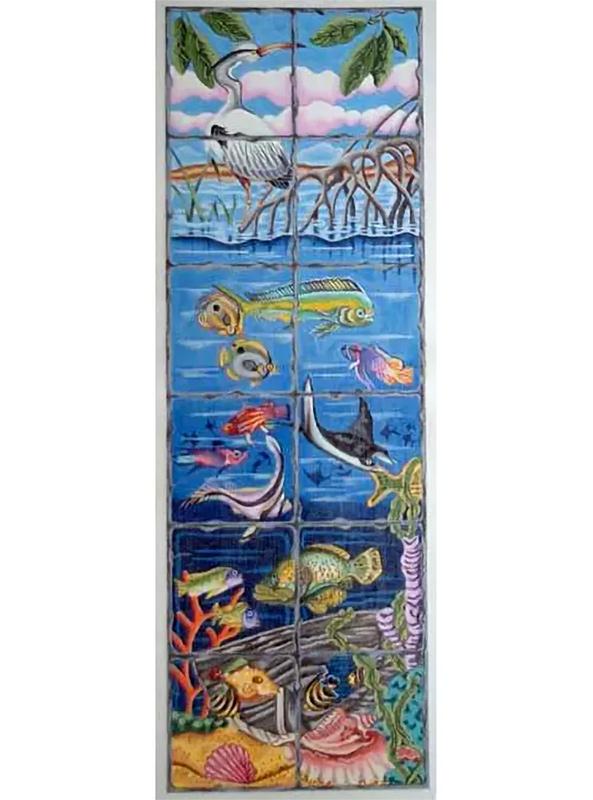 Undersea Fire Screen Hand Painted Canvas from Trubey Designs #2