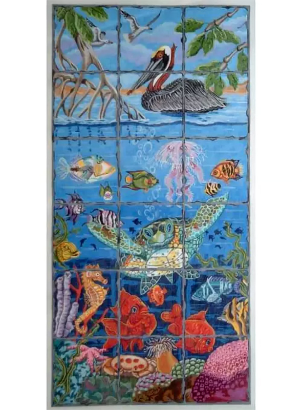 Undersea Fire Screen Hand Painted Canvas from Trubey Designs #4