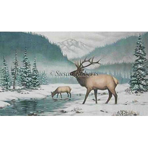 Elk In The Snow Hand Painted Needlepoint Canvas from Liz-Goodrick Dillon