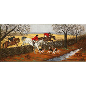Liz Goodrick-Dillon Hand Painted Needlepoint Wall Hanging Tapestry - Hunt Scene