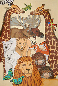 Animals Wall Hanging - Hand-Painted Needlepoint Tapestry Canvas from Trubey Designs