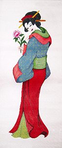 Geisha Wall Hanging 1 - Hand-Painted Needlepoint Tapestry Canvas from Trubey Designs