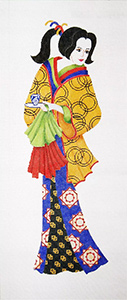 Geisha Wall Hanging 2 - Hand-Painted Needlepoint Tapestry Canvas from Trubey Designs