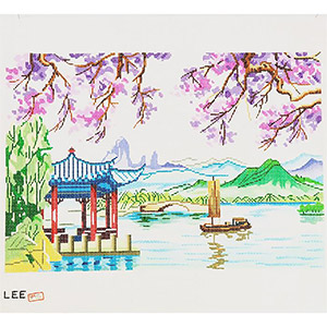 China Scene #2 Hand-painted Wall Hanging Canvas