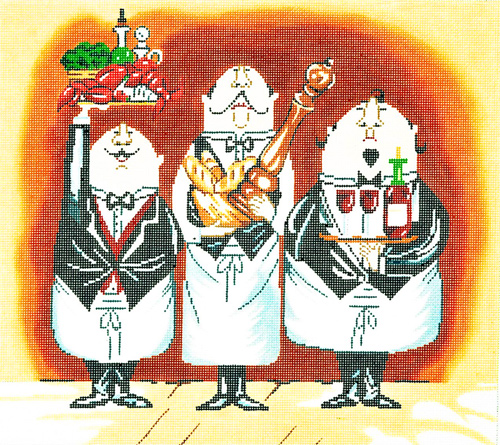 Three Waiters #1 Hand-painted Wall Hanging Canvas
