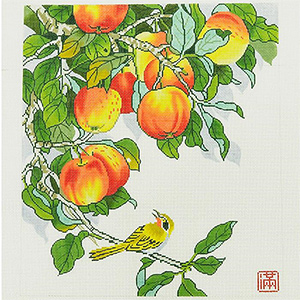 Yellow Bird with Peaches Hand-painted Wall Hanging Canvas