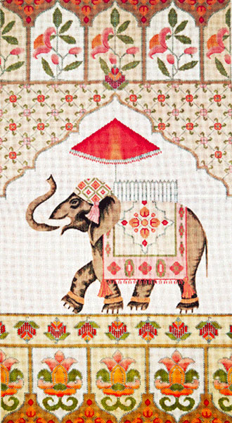 Elephant Wall Hanging - Hand-Painted Needlepoint Tapestry Canvas from Trubey Designs