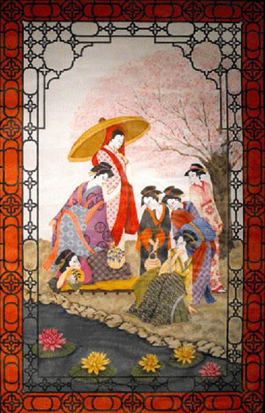 Needlepointus Seven Geishas Wall Hanging Hand Painted