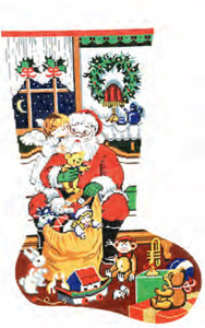 Santa With Toy Bag (Angel Kiss) Hand-painted Christmas Stocking Canvas