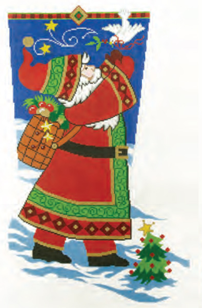 Santa With Dove Hand-painted Christmas Stocking Canvas
