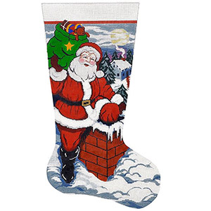 Up on the Rooftop Hand-painted Christmas Stocking Canvas
