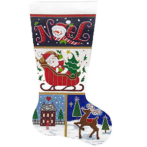 Noel Patch Hand-painted Christmas Stocking Canvas