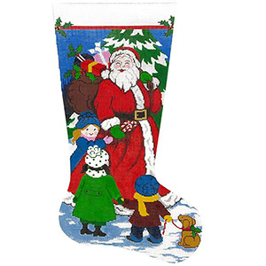 Santa's Got Candy Hand-painted Christmas Stocking Canvas