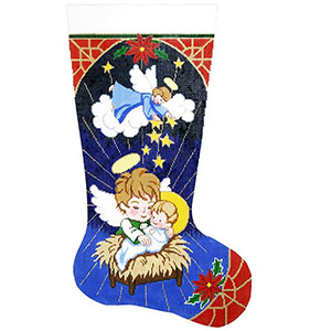 Angels & Manger Hand-painted Christmas Stocking Canvas