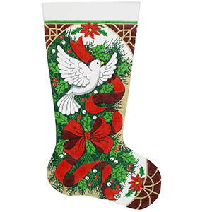 Christmas Holly & Dove Hand-painted Christmas Stocking Canvas