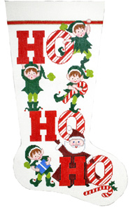 Ho Ho Ho Hand-painted Christmas Stocking Canvas