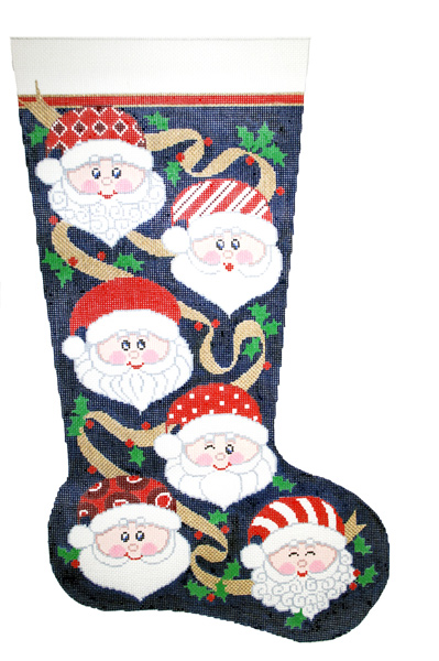 Santa's Many Faces Hand-painted Christmas Stocking Canvas