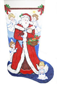 The Smallest Angel Hand-painted Christmas Stocking Canvas