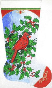Cardinal & Holly Hand-painted Christmas Stocking Canvas