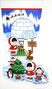 Eskimo Frolics Hand-painted Christmas Stocking Canvas