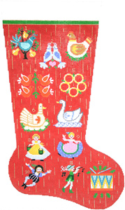12 Days of Christmas Hand-painted Christmas Stocking Canvas