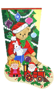 Santa Bear Hand-painted Christmas Stocking Canvas