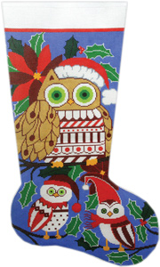 Christmas Owls Hand-painted Christmas Stocking Canvas