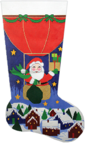 Balloon Santa Hand-painted Christmas Stocking Canvas