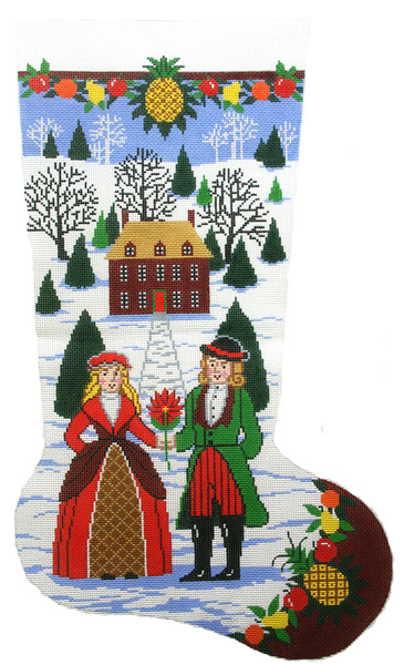 Williamsburg Folk Art Hand-painted Christmas Stocking Canvas