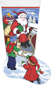 Here's My List Santa Hand-painted Christmas Stocking Canvas