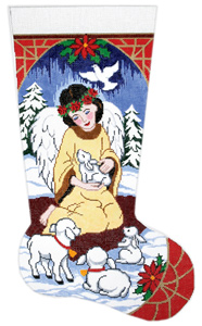 Woodland Angel Hand-painted Christmas Stocking Canvas