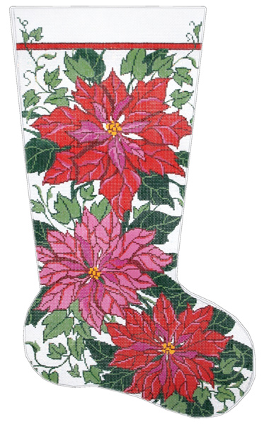 Poinsettia & Ivy Hand-painted Christmas Stocking Canvas