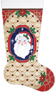 Santa Face Hand-painted Christmas Stocking Canvas