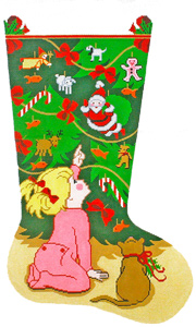Girl by Tree Hand-painted Christmas Stocking Canvas
