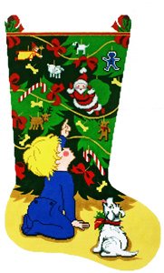 Boy by Tree Hand-painted Christmas Stocking Canvas